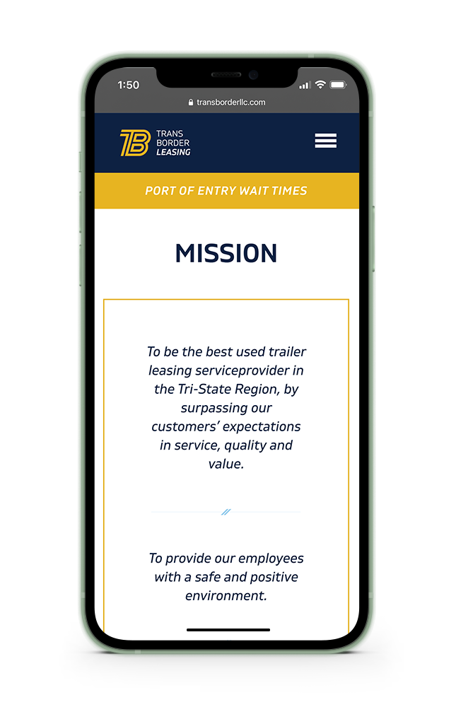 Trans Border Leasing mobile website preview